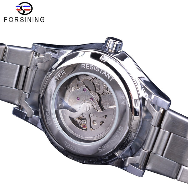 Forsining Classic Dragon Design Silver Stainless Steel Diamond Display Men Automatic Wrist Wristwatches Top Brand Luxury Montre Homme