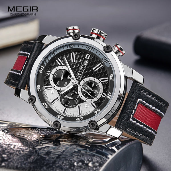 MEGIR Men's Waterproof Leather Strap Quartz Wristwatch Fashion Wristwatch for Man Luminous Hands