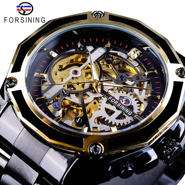 Forsining  New Collection Transparent Case Golden Stainless Steel Skeleton Luxury Design Men Wristwatch Top Brand Automatic Wristwatch