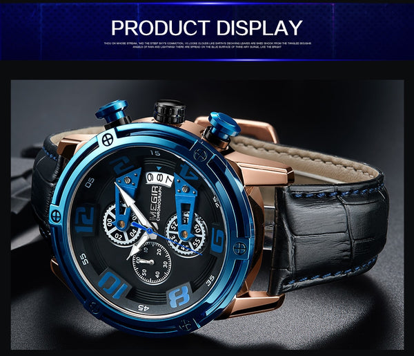 MEGIR Chronograph Sport Wristwatch Men Leather Strap Creative Quartz Wristwatches  Men Military Wristwatch   Montre Homme