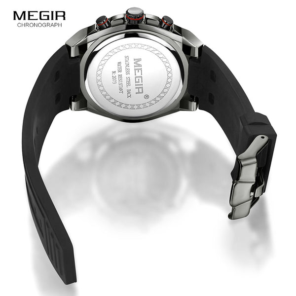 Megir Men Black Silicone Sports Quartz Wrist Wristwatches Luminous Relojios Relojes Waterproof Chronograph Montres Q2073G-BK-1