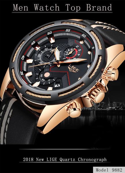 LIGE Wristwatch Men Fashion Sport Quartz Leather Mens Wristwatches Top Brand Luxury Gold Waterproof Business Wristwatch