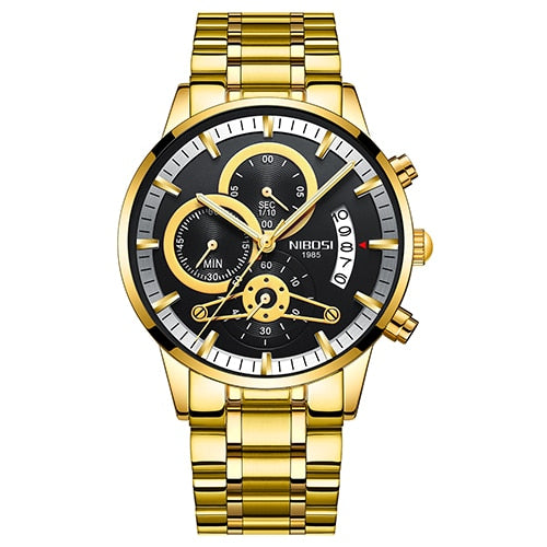 NIBOSI Mens Wristwatches Top Luxury Brand Men Gold Wristwatch Men   Military Army Analog Quartz Wristwatch Montre Homme