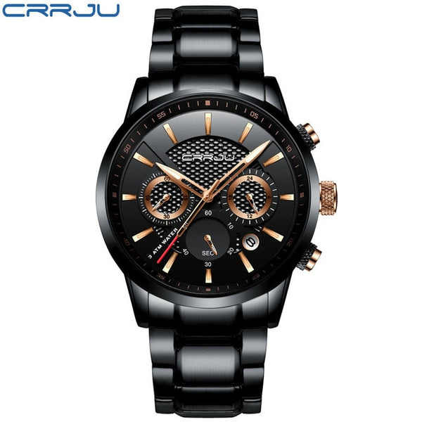 CRRJU Top Brand Luxury Men Wristwatch 30m Waterproof Quartz Wristwatches Steel Wristwatch Chronograph Men's Leisure Saat es
