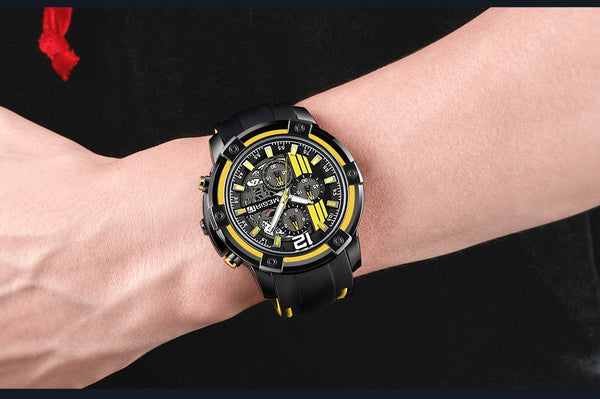 MEGIR Chronograph Mens Sport Wristwatches with Silicone Band Big Dial Military Quartz Wristwatch Men