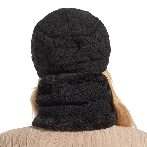 AETRUE Skullies Beanies Women Knitted Hat Scarf Female Winter Hats For Women Bonnet Solid Balaclava Mask Feminino Beanie Hat Cap