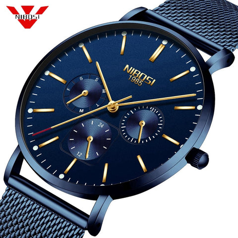 NIBOSI Mens Watches Slim Mesh Waterproof Minimalist Wrist Watch For Men Quartz Sport Watch Ultra Thin Relogio Masculino