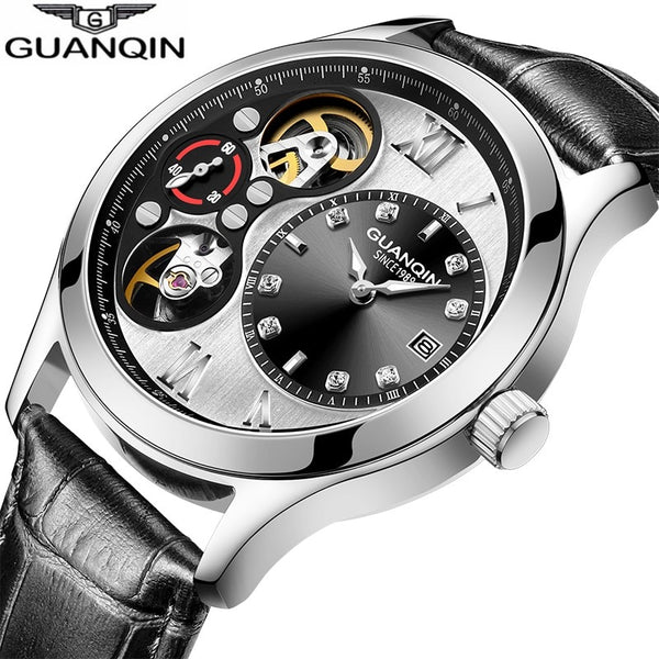 GUANQIN 2018 watch men new Mechanical top brand luxury men Automatic waterproof skeleton double movement Relogio Masculino