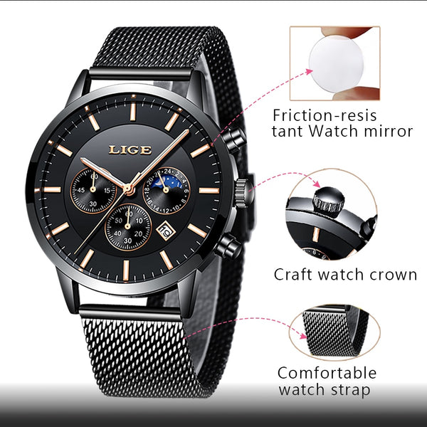 New LIGE Mens Wristwatches, Waterproof 2 styles