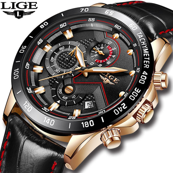 LIGE Mens Wristwatches Top Brand Luxury Quartz Wristwatch Gold Men Casual Leather Military Waterproof Sport Wristwatch