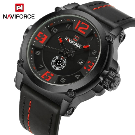 NAVIFORCE Mens Wristwatches Top Brand Luxury Sport Quartz-Wristwatch Leather Strap  Men Waterproof Wristwatch