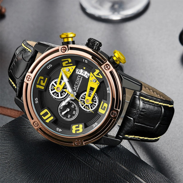 MEGIR Creative Sport Men Wristwatch Leather Chronograph Quartz Wrist Wristwatches Men Army Military Wristwatch Reloj Hombre