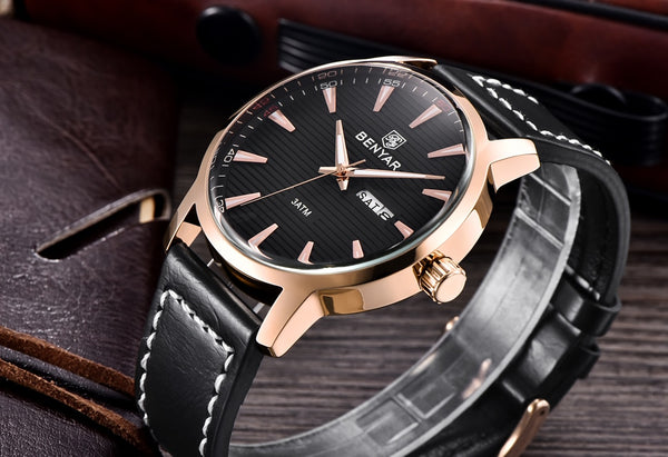New Luxury Brand BENYAR Wristwatches Men Leather Quartz Wristwatch Fashion week Date Wristwatch Reloj Hombre Sport Wristwatches Male relogio Masculino