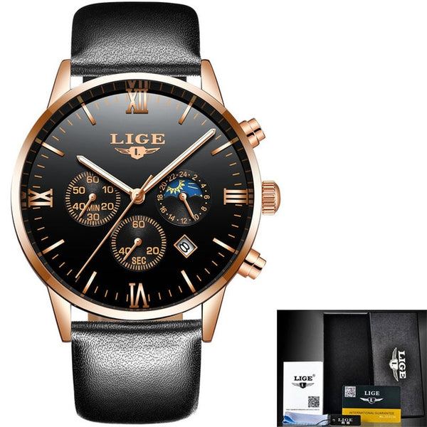 LIGE Watch Men Fashion Quartz Mens Watches Luxury Famous Top Brand Full Steel Business Waterproof Watch Relogio Masculino