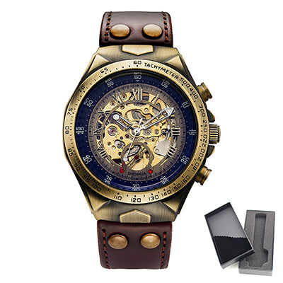 SHENHUA Motorcycle Design Transparent Genuine Bronze Belt Waterproof Skeleton Men Automatic Wristwatches Top Brand Luxury