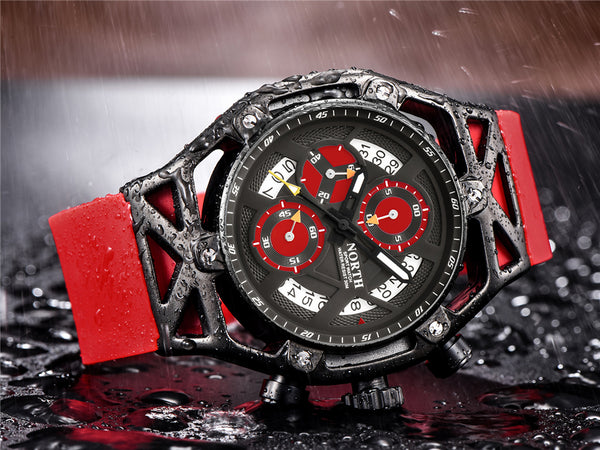 NORTH Mens Wristwatches Top Brand Luxury Quartz Wristwatch Men Casual Chronograph Military Waterproof Sport  Wristwatch