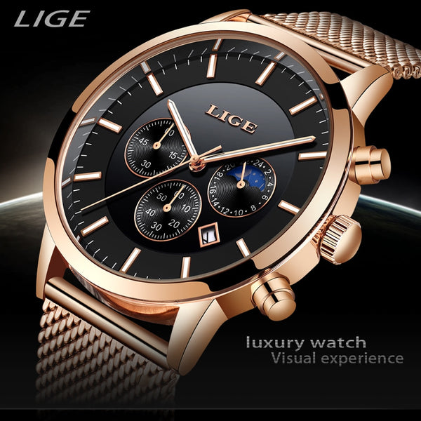 2019 New LIGE Mens Wristwatches Top Brand Luxury Business Wristwatch Sports Waterproof Quartz Fashion Moon Phase Gold Wristwatch For Men