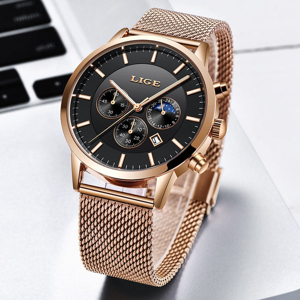 New LIGE Mens Wristwatches Top Brand Luxury Business Wristwatch Sports Waterproof Quartz Fashion Moon Phase Gold Wristwatch For Men