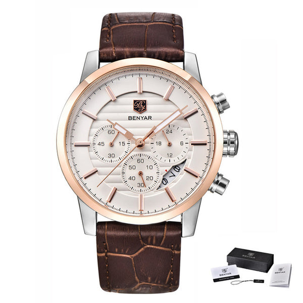 BENYAR Fashion Chronograph Sport Mens Wristwatches Top Brand Luxury Business Quartz Wristwatch