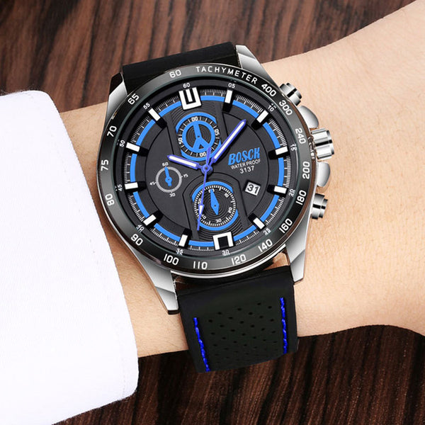 BOSCK  Men's Wristwatch Steel Belt Fashion Waterproof Sports Calendar Large Dial Leisure Luminous Silicone Tape Wristwatches
