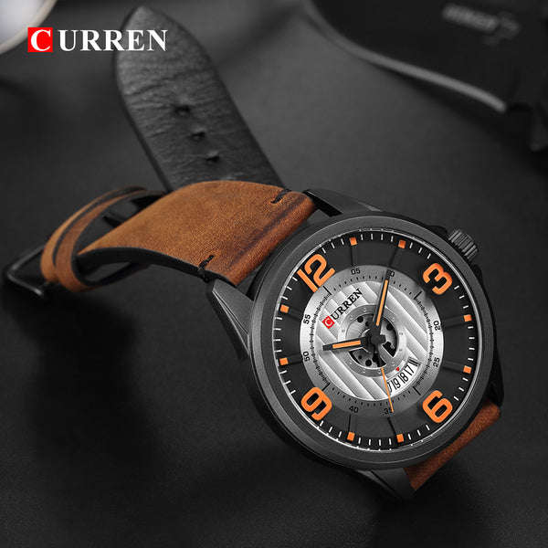 New CURREN Luxury Brand Men Fashion Sport Wristwatch Mens Leather Waterproof Quartz Wrist Wristwatches Male Date