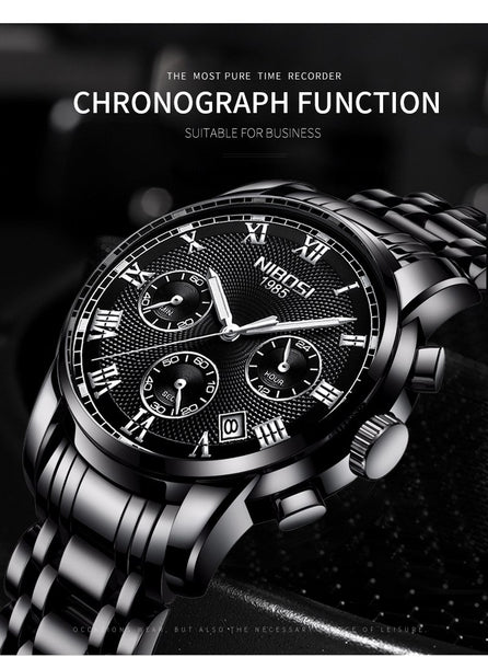 NIBOSI Casual Wristwatch Men Brand Luxury Men's Business Quartz Wristwatch Waterproof Auto Date Male  Full Steel