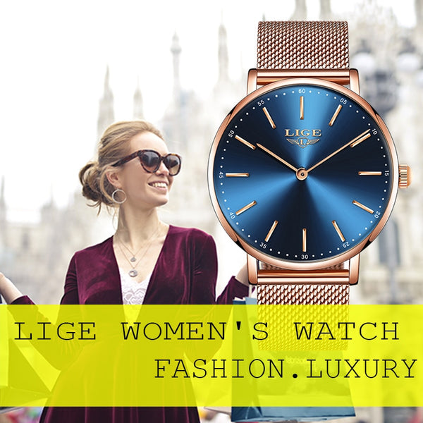 New LIGE Womens Wristwatches, Metal Strap, 3 Styles
