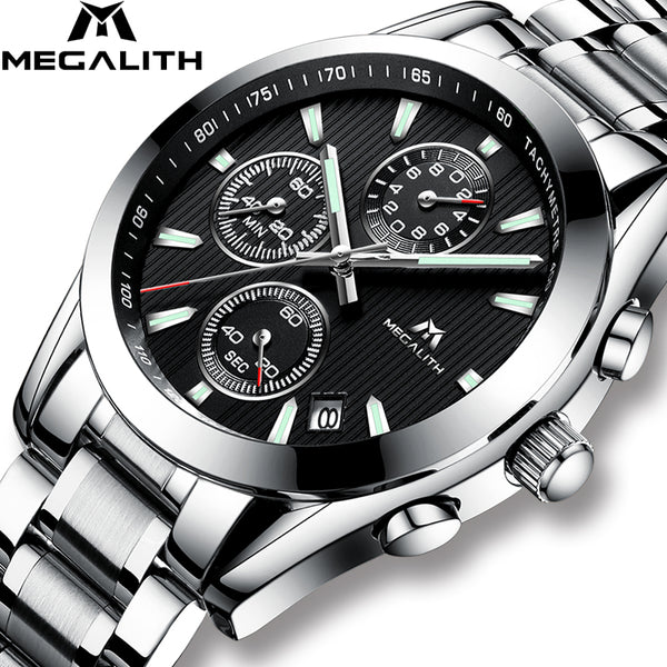 MEGALITH Wristwatch Men  Sport Military Quartz Wristwatch Waterproof Luxury Chronograph Stainless Steel Wrist Wristwatch