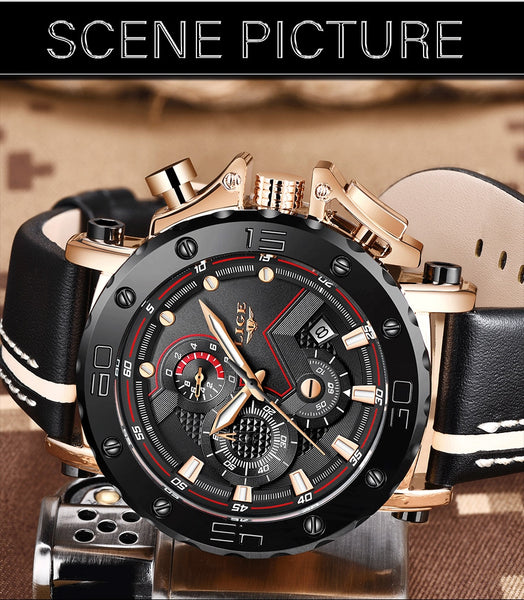 New LIGE Men  Wristwatches, Leather Strap Waterproof  2 Styles