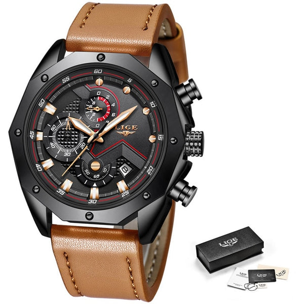 LIGE Mens Wristwatches Top Brand Luxury Quartz Gold Wristwatch Men Casual Leather Military Waterproof Sport Wristwatch