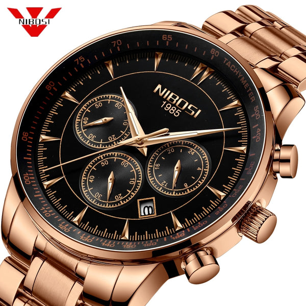 NIBOSI Wristwatch Men Waterproof 30M Gold Blue Wristwatches Business Fashion Sport Quartz Herren Uhren Date Male