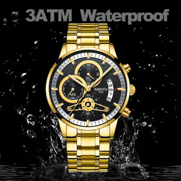 NIBOSI Men Wristwatches Luxury Top Brand Golden Wristwatch Men   Military Army Analog Quartz Luminous Calendar Wristwatch