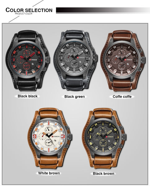 CURREN  New Men Fashion Quartz Wristwatches Men's Army Leather Sports Wrist Wristwatch Military Date Male Clock