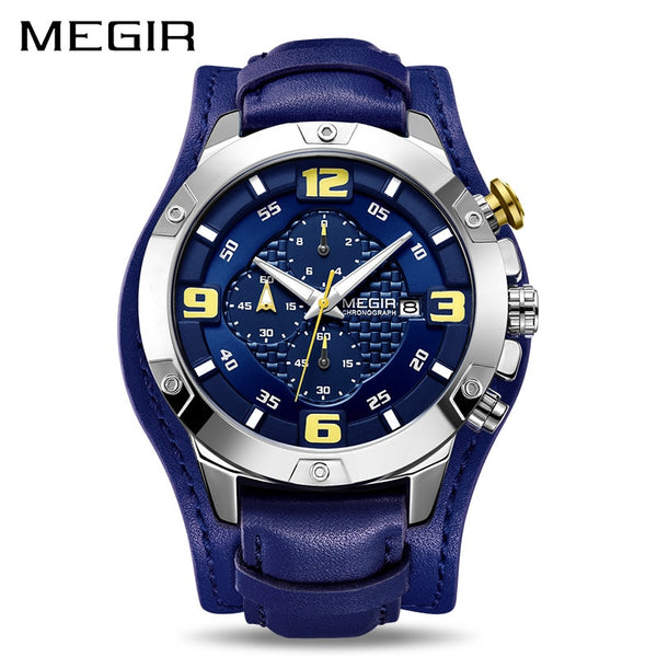 MEGIR Big Mens Wristwatches Luxury Brand Chronograph Quartz Wristwatch Men with Leather Bracer  Reloj Hombre Dropship