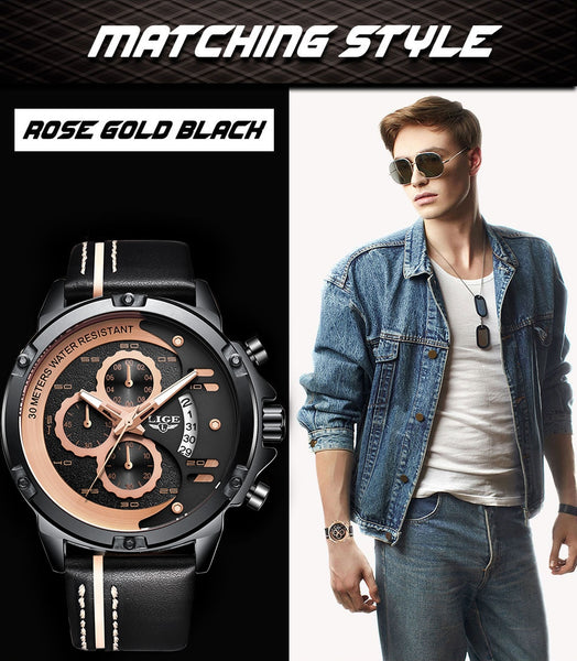 LIGE New Mens Wristwatches Top Brand Luxury Chronograph Quartz Wristwatch Man Fashion Leather Waterproof Military Sport Wristwatch
