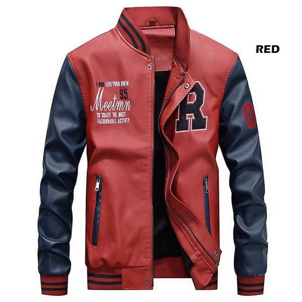 ASALI Men Baseball Jacket Embroidered Leather Pu Coats Slim Fit College Fleece Luxury Pilot Jackets Men's Stand Collar Top Jacket Coat
