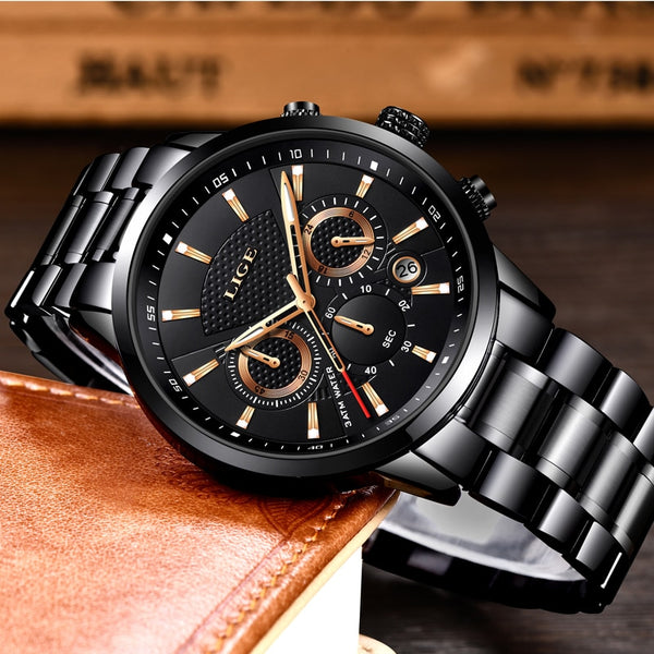 Top Brand Luxury LIGE New Men Casual Sports Quartz Wristwatch Fashion Full Steel Mens Wristwatches Men Waterproof