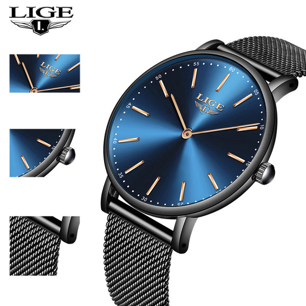 New LIGE Womens  Wristwatches, Metal Strap 8 Styles
