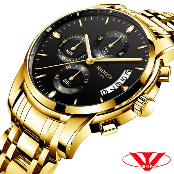 NIBOSI  Wristwatch Men Top Brand Luxury Male Automatic Date Quartz Wristwatches Mens Waterproof Sport Wristwatch