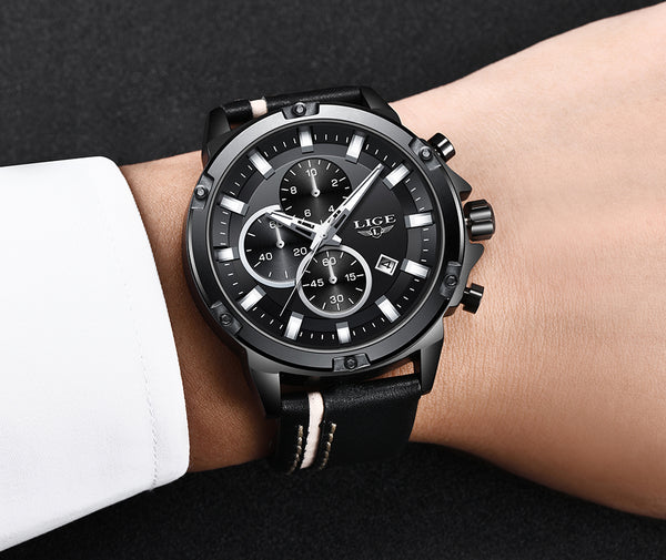 LIGE New Sport Chronograph Fashion Wristwatches Men 4 styles
