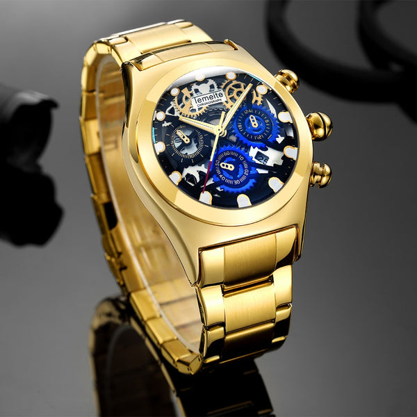 TEMEITE Military Big Case Quartz Wristwatch Men 3 Sub-dials Decoration Unique Blue Dial Metal Strap Mens Wristwatches Top Brand Luxury