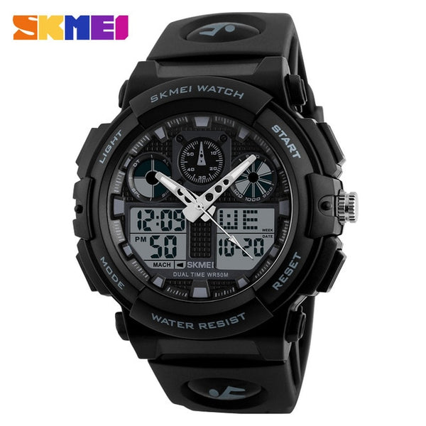 SKMEI Sports Wristwatch Men Digital Double Time Chronograph Wristwatches 50M Watwrproof Week Display Wristwatches  1270