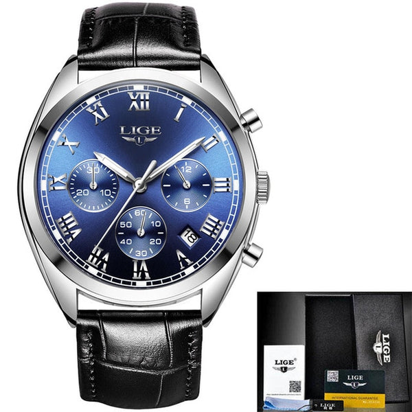 2019New LIGE Wristwatches Men Top Brand Fashion Chronograph Male Stainless Steel Waterproof Business Men Wristwatch