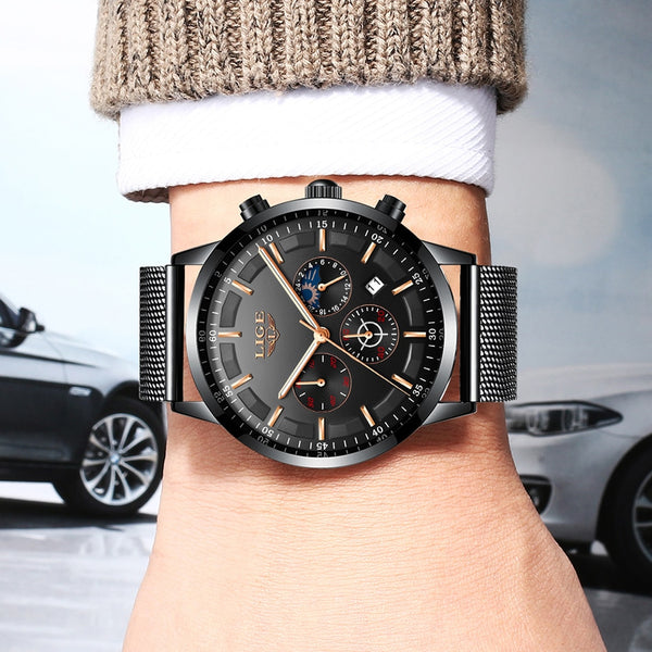 LIGE Mens Wristwatches Top Brand Luxury Casual Quartz Wristwatch Men Fashion Stainless Steel Waterproof Sport