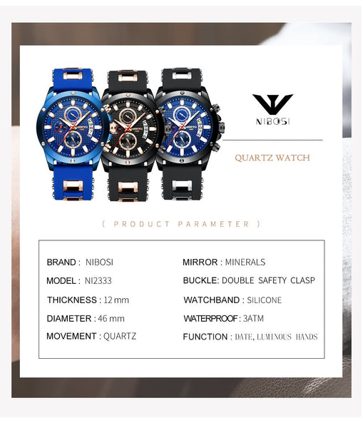 NIBOSI Chorograph Men Wristwatches military/Sport/army Wristwatches For Men  Luxury Brand Waterproof Outdoor Wristwatch Analog Silicone