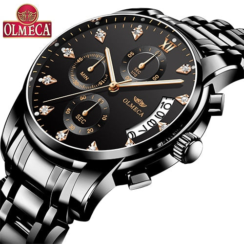 OLMECA   Men Wristwatch Luxury Wristwatches 3ATM Waterproof Chronograph Wristwatch Stainless Steel Band & Leather