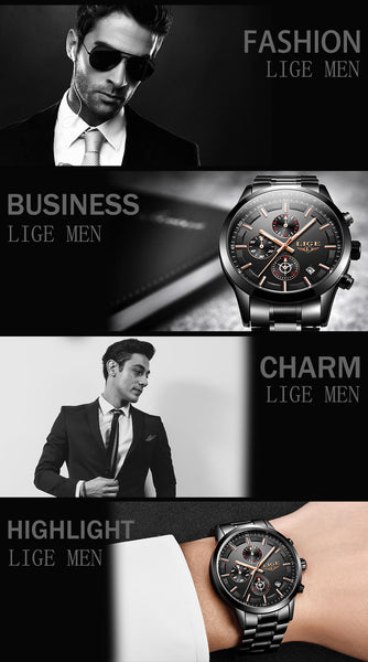 LIGE Wristwatch Men Top Brand Luxury Male Sport Wristwatch Quartz Stainless Steel Waterproof
