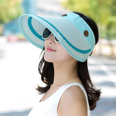 BINGYUANHAOXUAN Hats Women Large Wide Brim Floppy Summer Beach Sun Hat Cap Button Straw Hat Summer Hats For Women Anti-UV Visor