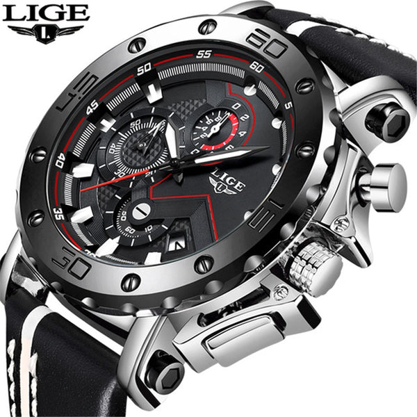LIGE New Mens Wristwatches Top Brand Luxury Men's Military Sports Leather Wristwatch Men Business Chronograph Quartz  Zegarek Meski