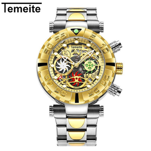 TEMEITE Top Brand Luxury Quartz Wristwatch Men Chrono Windmill Design Date Golden Stainless Steel Strap Fashion Multifunction Clock